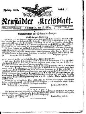 Neustädter Kreisblatt vom 16.03.1861