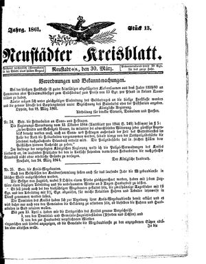 Neustädter Kreisblatt vom 30.03.1861