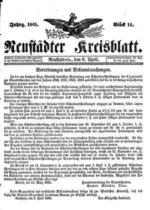 Neustädter Kreisblatt vom 06.04.1861