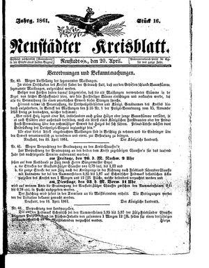 Neustädter Kreisblatt vom 20.04.1861