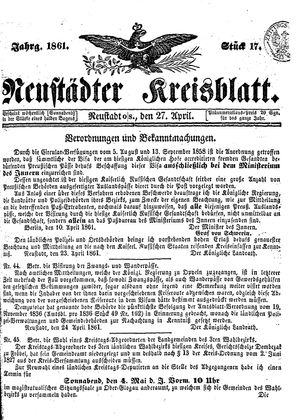 Neustädter Kreisblatt vom 27.04.1861