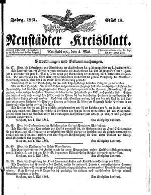 Neustädter Kreisblatt vom 04.05.1861