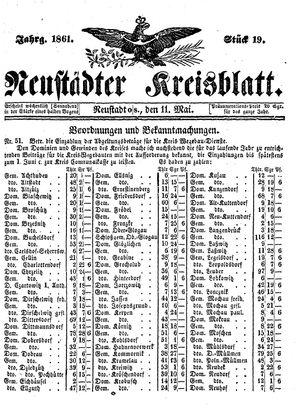 Neustädter Kreisblatt vom 11.05.1861