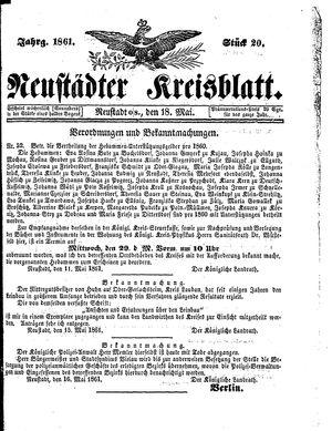 Neustädter Kreisblatt on May 18, 1861