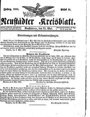 Neustädter Kreisblatt vom 25.05.1861