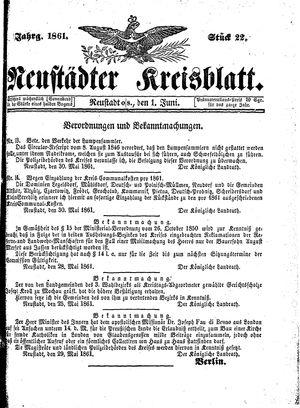 Neustädter Kreisblatt vom 01.06.1861