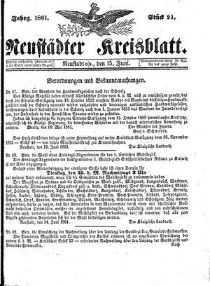 Neustädter Kreisblatt vom 15.06.1861