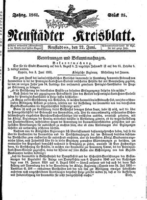 Neustädter Kreisblatt on Jun 22, 1861