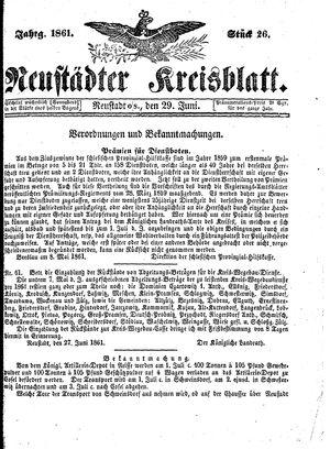 Neustädter Kreisblatt vom 29.06.1861
