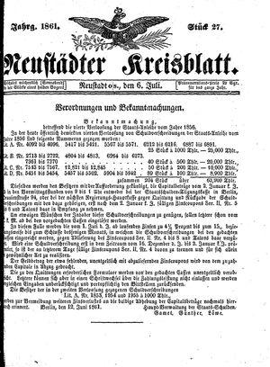 Neustädter Kreisblatt vom 06.07.1861