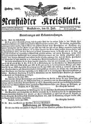 Neustädter Kreisblatt vom 13.07.1861