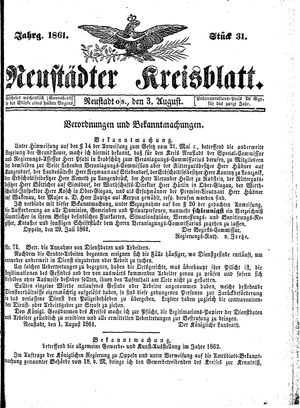 Neustädter Kreisblatt vom 03.08.1861