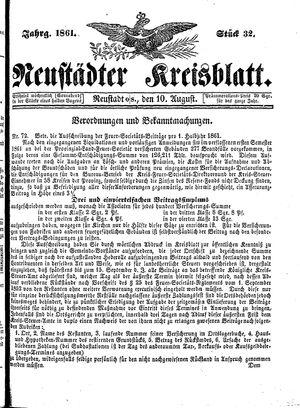 Neustädter Kreisblatt vom 10.08.1861