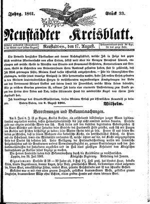 Neustädter Kreisblatt vom 17.08.1861