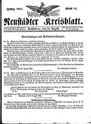 Neustädter Kreisblatt vom 24.08.1861