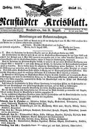 Neustädter Kreisblatt vom 31.08.1861