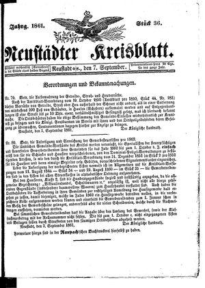 Neustädter Kreisblatt vom 07.09.1861