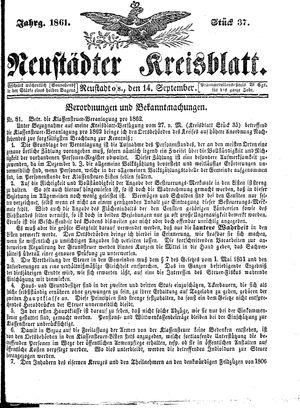 Neustädter Kreisblatt vom 14.09.1861