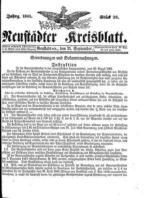 Neustädter Kreisblatt vom 21.09.1861