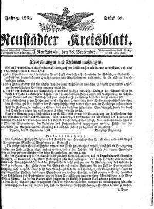 Neustädter Kreisblatt vom 28.09.1861