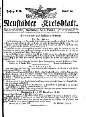 Neustädter Kreisblatt vom 05.10.1861
