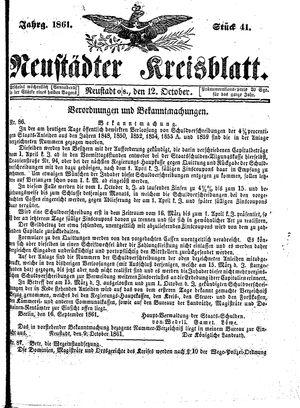 Neustädter Kreisblatt vom 12.10.1861