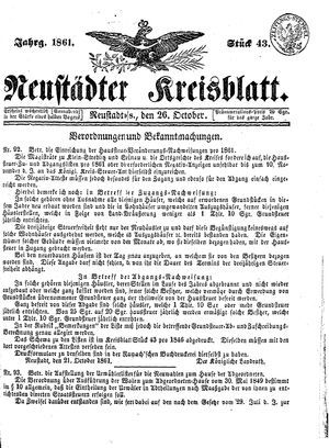 Neustädter Kreisblatt vom 26.10.1861