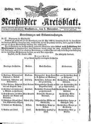 Neustädter Kreisblatt vom 02.11.1861