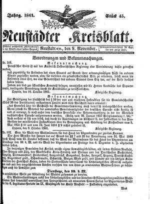 Neustädter Kreisblatt vom 09.11.1861