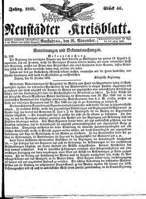 Neustädter Kreisblatt vom 16.11.1861