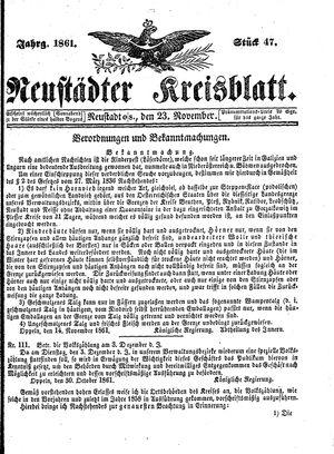 Neustädter Kreisblatt vom 23.11.1861
