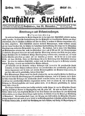Neustädter Kreisblatt vom 30.11.1861