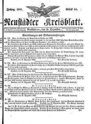 Neustädter Kreisblatt vom 14.12.1861