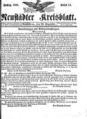 Neustädter Kreisblatt vom 28.12.1861