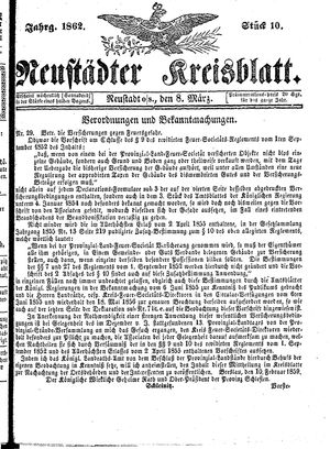 Neustädter Kreisblatt vom 08.03.1862