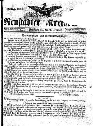 Neustädter Kreisblatt vom 02.01.1863