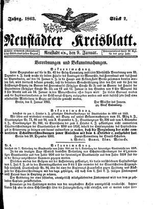 Neustädter Kreisblatt vom 09.01.1863