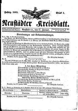 Neustädter Kreisblatt vom 17.01.1863