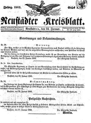 Neustädter Kreisblatt vom 24.01.1863