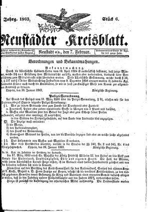 Neustädter Kreisblatt vom 07.02.1863