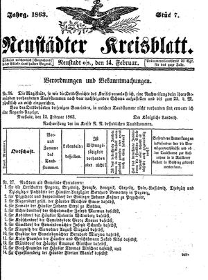 Neustädter Kreisblatt on Feb 14, 1863