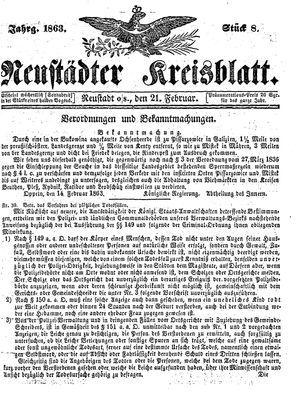 Neustädter Kreisblatt on Feb 21, 1863