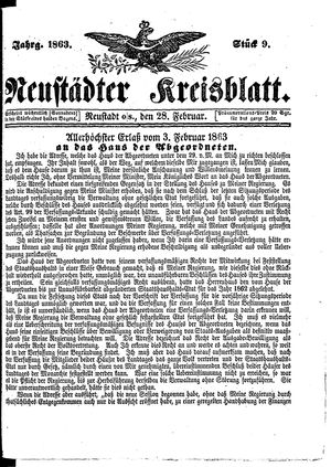 Neustädter Kreisblatt on Feb 28, 1863