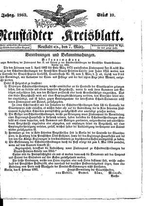 Neustädter Kreisblatt vom 07.03.1863