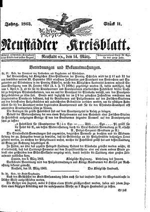 Neustädter Kreisblatt on Mar 14, 1863