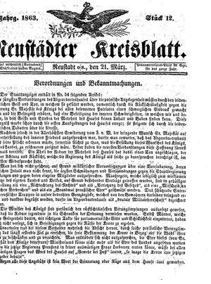 Neustädter Kreisblatt on Mar 21, 1863