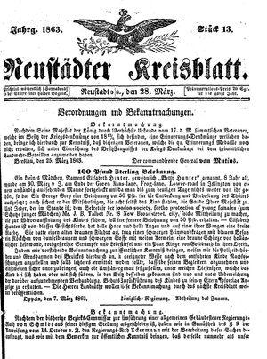 Neustädter Kreisblatt vom 28.03.1863