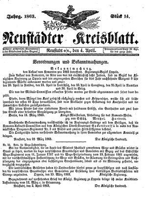 Neustädter Kreisblatt vom 04.04.1863
