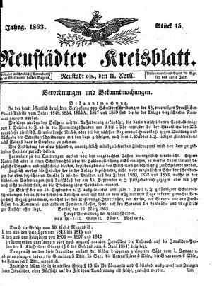 Neustädter Kreisblatt vom 11.04.1863