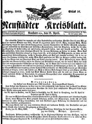 Neustädter Kreisblatt on Apr 18, 1863